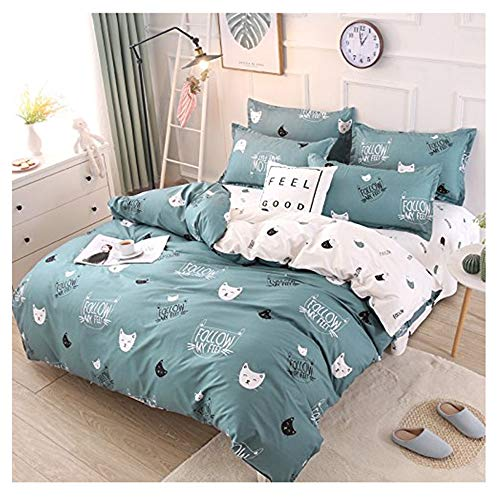 - Rayhoo Bed Set Twin Sheets Set Cute Cat - 3 Piece Bedding Sets One Comforter Cover Two Pillowcase- Ultra Soft Microfiber Teen Bedding for Girls Bedroom(Without Quilt) (Cute cat,Green, Twin,66''x86'')