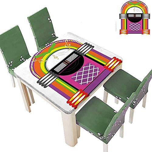 Decorative Tablecloth Vivid Design Vintage Music Notes Radio Box Artwork Orange Purple and Green Assorted Size 50 x 50 Inch (Elastic Edge) ()