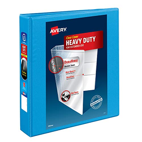 Avery Heavy-Duty View 3 Ring Binder,1.5  One Touch Slant Rings, Holds 8.5 x 11 Paper, 1 Light Blue Binder (05401)