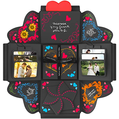 DOGAR - Creative Explosion Gift Box - Assembled DIY Handmade Surprise Box - Love Picture Box as Birthday Gift, Wedding Gifts, Anniversary or Valentine's Day - Black- Fold 4.7