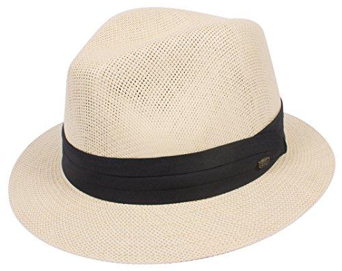(DRY77 Straw Panama Hat Men Gambler Summer Cool Outback Short Brim Fedora Sun, Natural, L/XL)