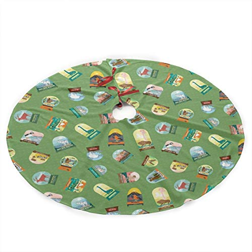 Santa Christmas Tree Forest - National Parks Snowdomes Scatter in Forest Christmas Tree Skirt with Santa, Xmas Tree Decorations Skirts Holiday Ornaments with Double Edges