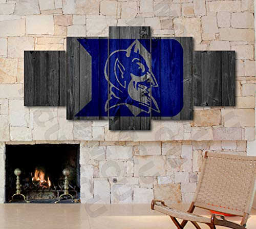 5 Piece American Football College University Teams Art Decor Wall Poster (5 Piece Medium, Duke Blue - Piece Blue 4 Devils Duke