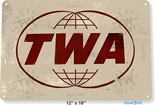 """TIN SIGN 12"""" x 18"""" TWA Trans World Airlines Aviation Metal Wall Decor Shop Store Tinworld A747"""