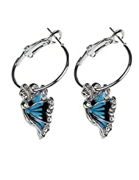 Coromose Blue Crystal Rhinestone Enamel Butterfly Dangle Hoop beautiful Earring