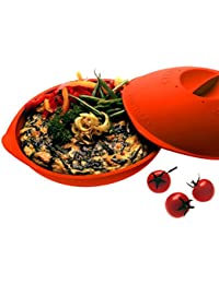 SiliconeZone Discus Multi-Functional Tortilla Warmer and Vegetable Steamer, Red