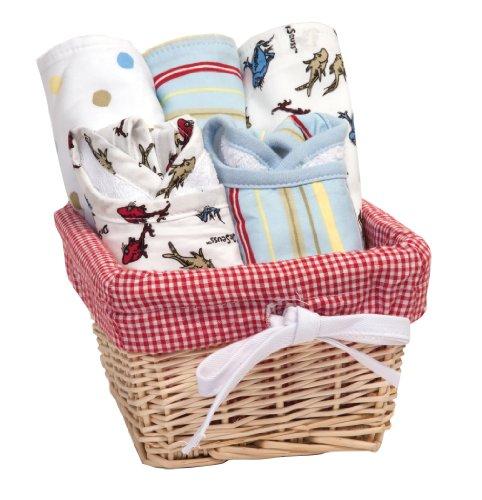 Trend Lab Dr. Seuss One Fish Two Fish Bib and Burp Cloth Basket Gift Set, 7 Piece