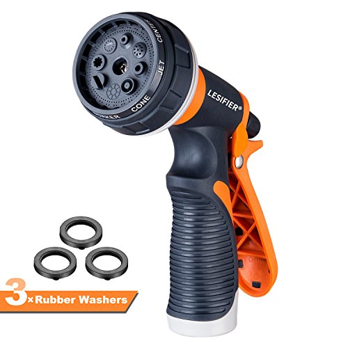 LESIFIER Garden Hose Nozzle Spray Nozzle, Heavy Duty High Pressure Water Nozzle, 8 Adjustable Watering Patterns, Flow Control, Anti-leak Slip Resistant for Garden Watering, Car Washing, Pet ()