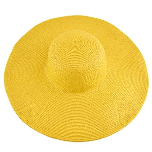 Opromo Women's Beachwear Sun Cap Straw Hat Fold Roll Up Big Brim Floppy Hat-Yellow