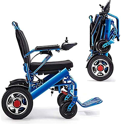 Y&XF Lightweight Lntelligent Folding Carry Electric Wheelchairs, Durable Wheelchair,Safe and Easy to Drive for Extra Comfort,Blue