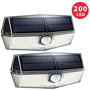 Mpow Solar Lights Outdoor,200 LED Solar Motion Lights with 3 Modes, 270°Wide Angle, IP67 Waterproof, Easy-to-Install…