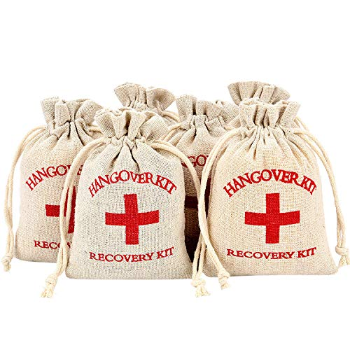 (Maxdot 60 Pieces Red Cross Cotton Muslin Bags Drawstring Survival Kit Bag Bachelorette Hangover Kit Bags for Wedding and Party, 6 by 3.9 inches )
