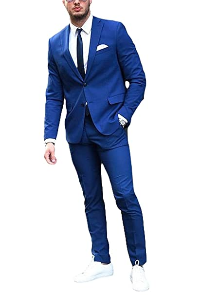 Amazon.com: botong Azul Real Slim Fit Hombre Suit chamarra ...