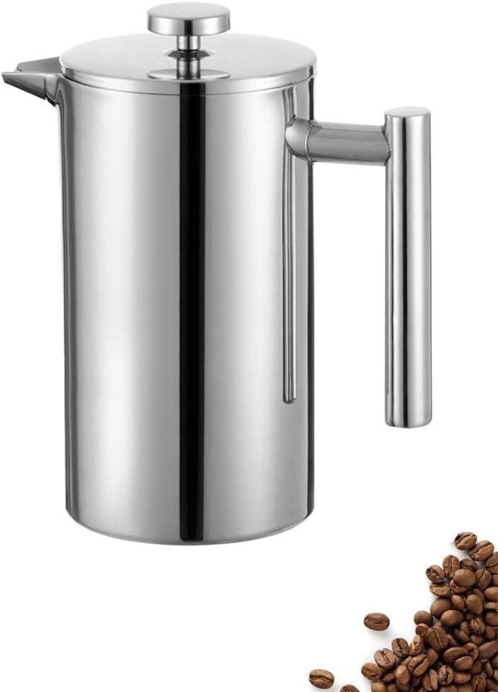 BONHEUR Acero Inoxidable French Press Cafetera, de Pared Doble con Aislamiento Café y té Brewer Pot y Cafetera, Mantiene elaborado Cerveza café o té Caliente (1 l) (Size : 1000L)