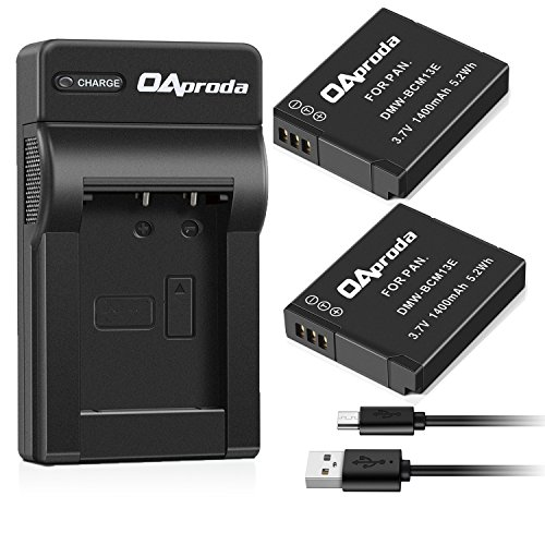 OAproda 2 Pack DMW-BCM13 Battery and USB Charger for Panasonic DMW-BCM13E, DMW-BCM13PP, Lumix DC-TS7, DMC-FT5A, TZ60, TZ55, TZ41, TZ40, TZ37, TS5, TS6, LZ40, ZS27, ZS30, ZS35, DMC-ZS40, DMC-ZS45