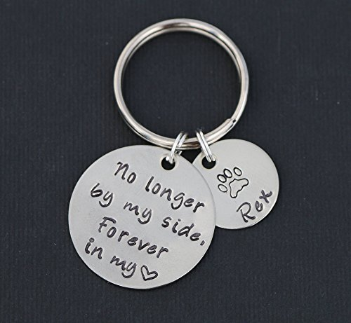 Forever in my Heart Pet Loss Keychain – DII ABC - Dog Memorial Gift Cat Paw Print – Handstamped Name Personalized – 1, 5/8 Inch 25.4, 15MM Disc – Fast 1 Day Shipping (Memorial Breed Pet)
