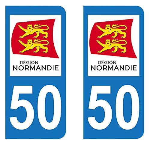Autocollant immatriculation 50 Nouvelle r/égion Normandie