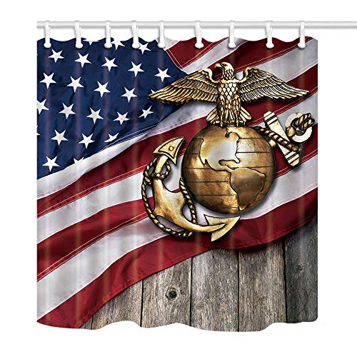 Marina Shower Curtain - KOTOM Marine Eagle Shower Curtain, Globe and Anchor with American Flag Background, Polyester Fabric Bath Curtains for Bathroom, 69X70in, Bath Accessories 12 Hooks Included