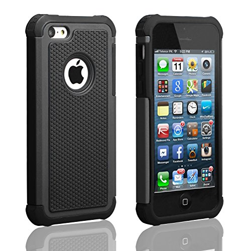 AUMIAU iPhone 5C Case,Hybrid Dual Layer Shock Absorbin Armor Defender Protective Case Cover (Hard Plastic with Soft Silicon) for Apple iPhone 5C-Black