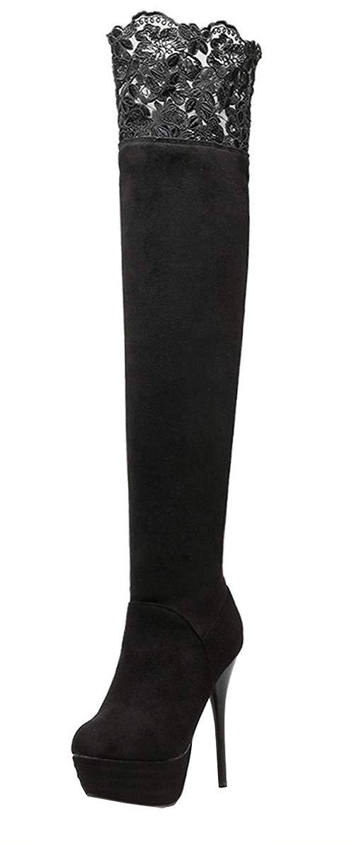 YE Lace Chaussure Bottes-Cuissardes Extensibles 17662 Stretch Femme Noir Plateforme Longue Longue Hiver Talon Haut Aiguille Winter Boots Noir 950e04a - gis9ma7le.space