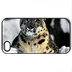 snow panther - Case Cover for iPhone 4 and 4s (Watercolor style, Black)