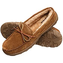 Rockport Men's Memory Foam Plush Suede Slip On Indooroutdoor Moccasin Slipper Shoe
