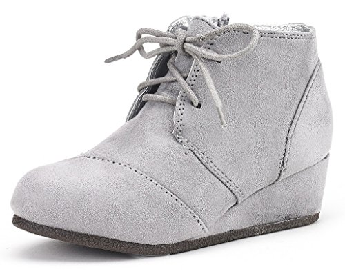 DREAM PAIRS Little Kid Tomson-K Grey Girl's Low Wedge Heel Booties Shoes - 12 M US Little -
