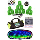 Speed Stacks Custom Combo Set - The Works: 12 GREEN 4 Cups, Cup Keeper, Quick Release Stem, Pro Timer, Gen 3 Premium VOXEL GLOW Mat, 6 Snap Tops, Gear Bag + FREE: Active Energy Power Necklace $49