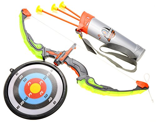 PowerTRC Toy Archery Set for Kids with Luminous Bow, Target, Quiver and Suction Cup Arrows (3 Arrows)