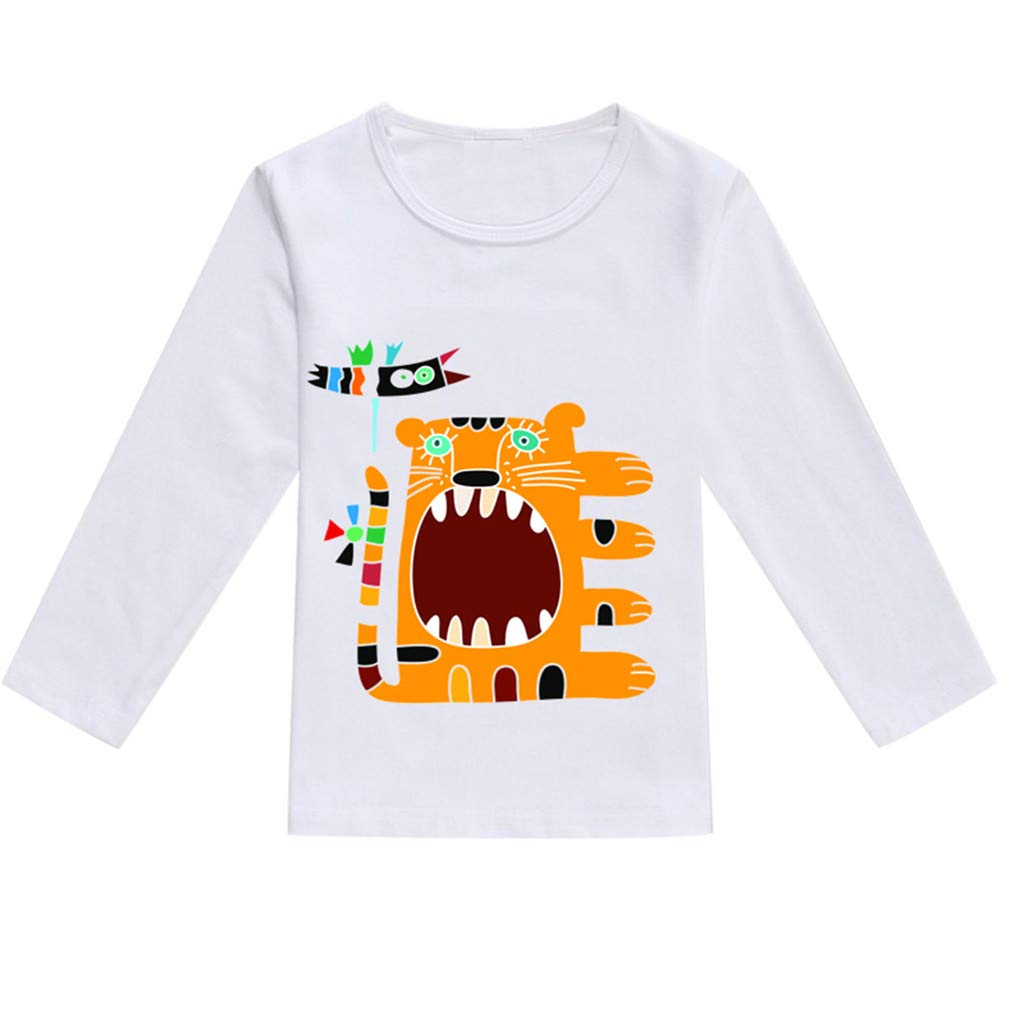 NUWFOR Toddler Baby Kids Boys Girls Spring Cartoon Print Tops T-Shirt Casual Clothes(Orange,2-3 Years)