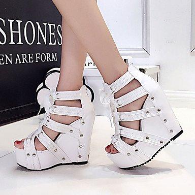 LFNLYX Las mujeres sandalias de verano enredaderas PU vestir casual tacón cuña negro blanco plateado White