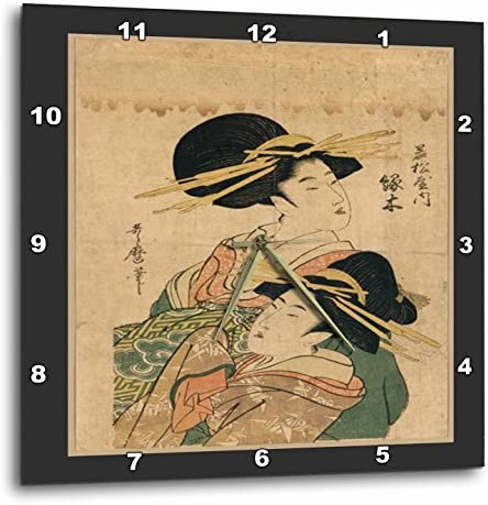 3dRose DPP_44756_2 2 Vintage Oriental Ladies-Wall Clock, 13 by 13-Inch