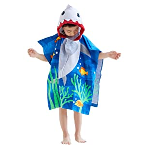 "100% Cotton Shark Hooded Towels for Kids, Super Soft and absorbent, 25""x25"" Large Size Cover Up Towel Wrap with Side Button, Bath/Beach/Swimming/ Bathrobe Poncho for for Children Toddlers Under Age 6"