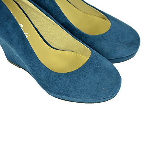 Cucu Fashion - Sandalias con cuña mujer Ante azul