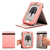 Mulbess - Nook GlowLight 4th Stand Case Cover - Leather Case Cover with Elastic Hand Strap for Nook GlowLight 4th (NOT fit NOOK Simple Touch with GlowLight NOOK 3rd Gen or NOOK Simple Touch NOOK 2nd Gen) Color Pink