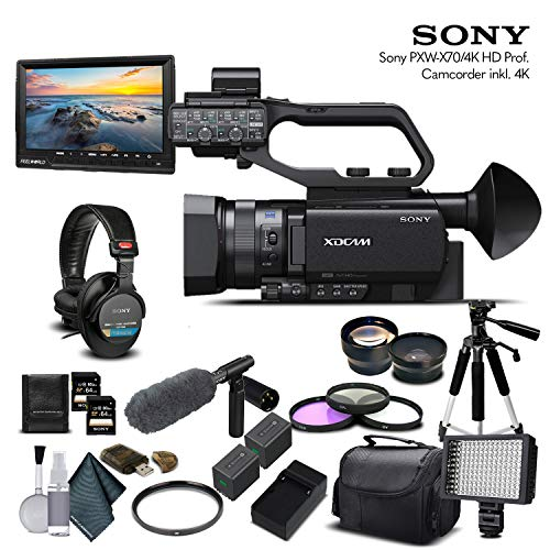 Sony PXW-X70 4K XDCAM Camcorder (PXW-X704K) with 2-64GB Memory Card, 2 Extra Batteries, UV Filter, LED Light, Case, Tripod, Rode VM-GO Mic, Sony MDR-7506 Headphones - Professional Bundle
