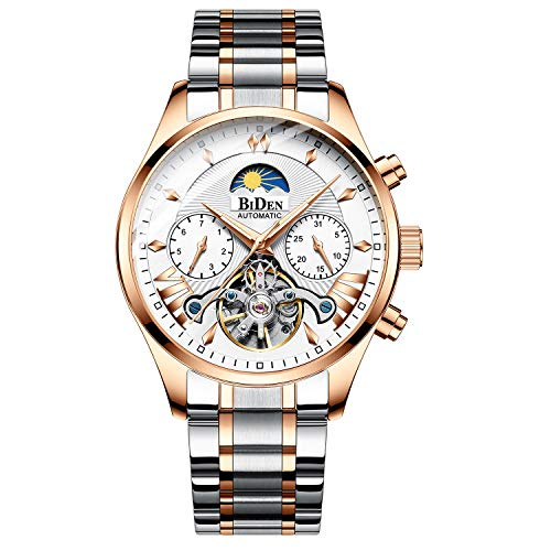 Bestn Mens Automatic Mechanical Wrist Watches Stainless Steel Moon Phrase Luminous Hands Skeleton Tourbillon Style Watch