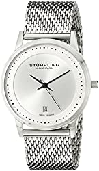 Stuhrling Original Men's 734GM.01 Analog Classic Ascot Casatorra Elite Swiss Quartz Date Silver Dial Stainless Steel Mesh Bracelet Watch