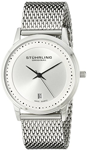 Stuhrling Original Men's 734GM.01 Analog Classic Ascot Casatorra Elite Swiss Quartz Date Silver Dial Stainless Steel Mesh Bracelet Watch