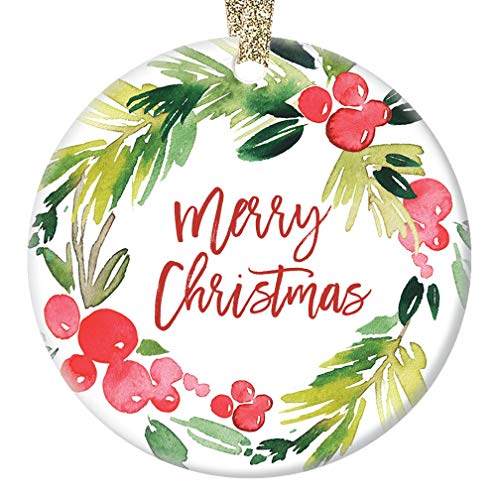Modern Merry Christmas Ornament Colorful Red & Green Watercolor Floral Wreath Ceramic Collectible Gift for Coworker Mom Friend Family Thank You Present 3