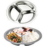 AIYoo Round Divided Plates 2 Pack 304 Stainless Steel Mess Trays 11 Inch 3 Sections Food Plate for Kids ,Camping, Lunch and Dinner or Every Day Use