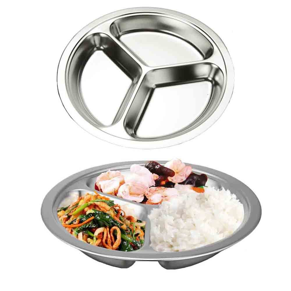 AIYoo 304 Stainless Steel Dinner Plate Three Sections Round Divided Plate Set of 2 Mess Food Trays for Kids Toddlers Camping Serving Trays 20CM/7.87inch Lemeijia LJ-100-24CM-L