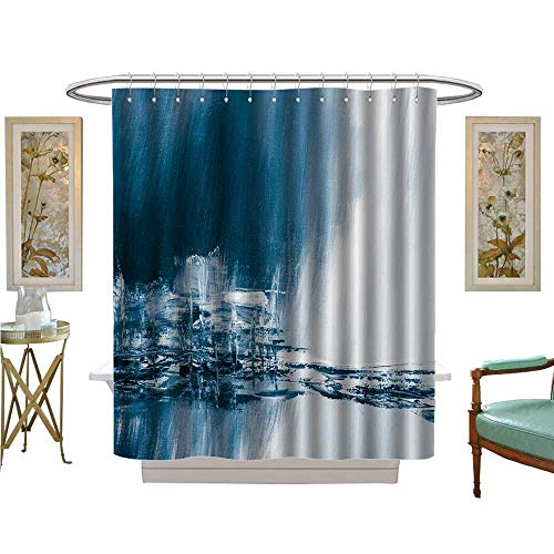 luvoluxhome Shower Curtains with Shower Hooks Blue Painted Background Wallpaper Texture Custom Made Shower Curtain W69 x L70 - Wallpaper Kmart