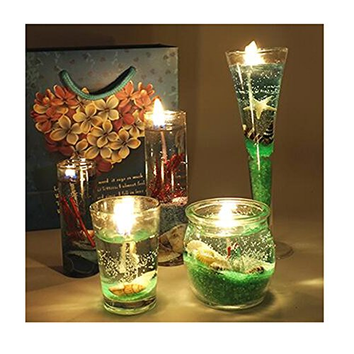 LuckySHD Romantic Smokeless Candles Ocean Shells Jelly Aromatherapy Candle Set Decoration(Green)