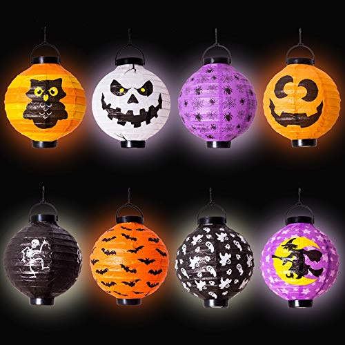 8 Halloween Decorations Paper Lanterns with LED Light With different style for Halloween Party Supplies Halloween Party Favor (12.5-inch tall include Hanging Hook) -