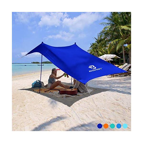 Bessport Strandzelt Sonnenschutz Kommt mit 4 Sandsäcken und 4 Aluminiumstangen 3mx3m   UPF 50+ UV Sonnenschutz…