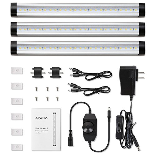 Albrillo Under Cabinet LED Lighting, Dimmable Under Counter Lighting, 900 Lumens, Daylight Nature White, Pack of (Led Under Cabinet Strip)