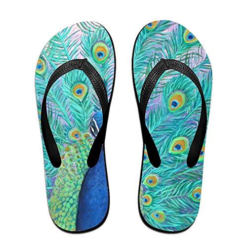 ROOMY Shy Peacock Flip-Flops Beach Slim Sandal for Women/Men, Multicolored Design Comfort Proof Slippers Black