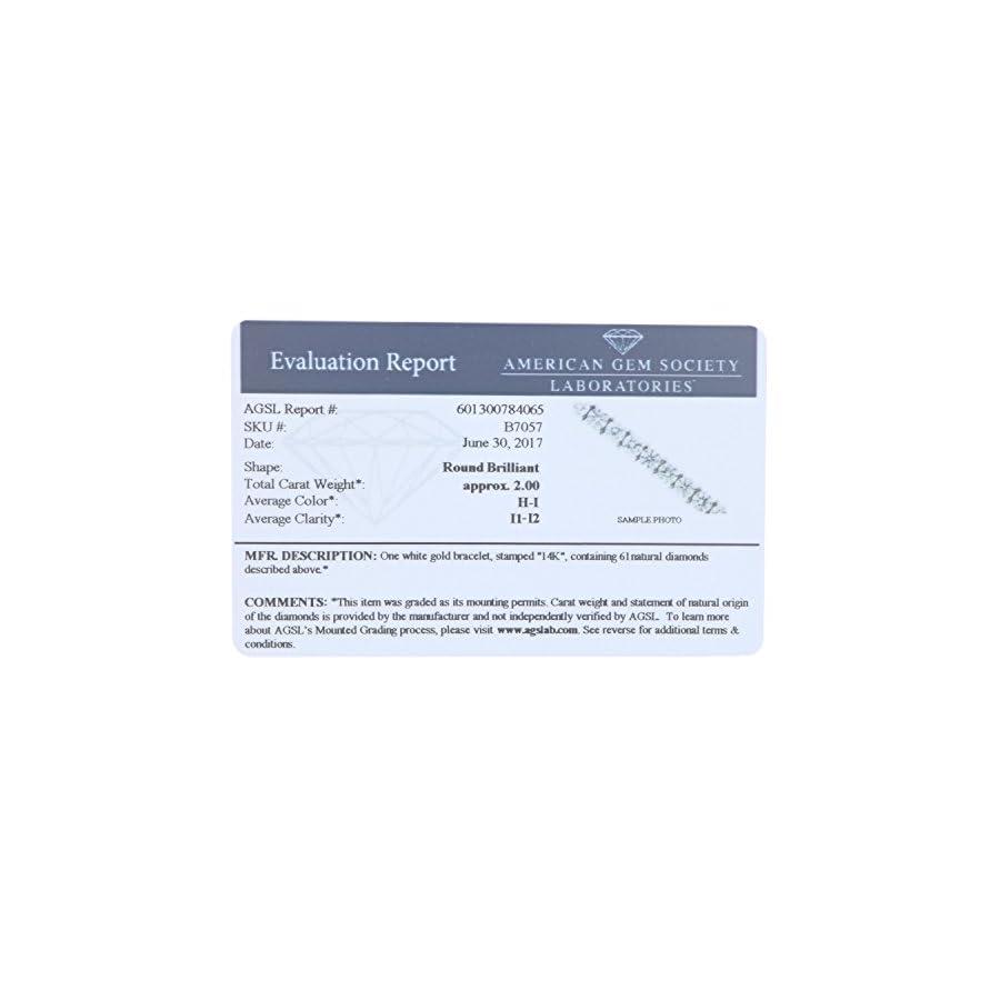 2 CT AGS Certified I1 I2 Clarity Diamond Bracelet 14K White Gold (H I)