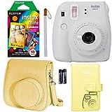 Fujifilm Instax Mini 9 Instant Camera - Smokey White, Fujifilm Rainbow Instant Mini Film, Fujifilm Instax Groovy Camera Case - White and Fujifilm INSTAX Wallet Album - Yellow